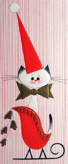 Mid Century Modern Siamese Cat in the Sleigh Vintage Christmas Card 549 Christmas Kitten, Noel Christmas, Merry Little Christmas, Retro Christmas, Christmas Greetings, Christmas Scenes, Modern Christmas, Holiday Images, Vintage Christmas Images