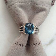 DAVID YURMAN | PETITE WHEATON RING, AUTHENTIC PETITE WHEATEN RING, HAMPTON BLUE TOPAZ                                                       Sterling silver. Faceted hampton blue topaz. Pavé diamonds, 0.10 total carat weight. 10x8mm stone.  EMAIL; Carolinehotoy@ymail.com for more info ❗ size ❗ Price Negotiable ❗ David yurman Bags