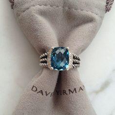 DAVID YURMAN   PETITE WHEATON RING, AUTHENTIC PETITE WHEATEN RING, HAMPTON BLUE TOPAZ                                                       Sterling silver. Faceted hampton blue topaz. Pavé diamonds, 0.10 total carat weight. 10x8mm stone.  EMAIL; Carolinehotoy@ymail.com for more info ❗ size ❗ Price Negotiable ❗ David yurman Bags