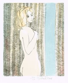 Nude Girl, lithograph print by Karel Beneš | Czech contemporary artist.