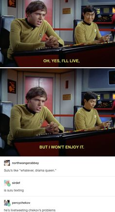 On Chekhov's drama: 18 Times Star Trek Online, Star Trek 2009, Star Wars, Star Trek Tos, Star Trek Meme, Funny Star Trek, Star Trek Quotes, Star Trek Chekov, Star Trek