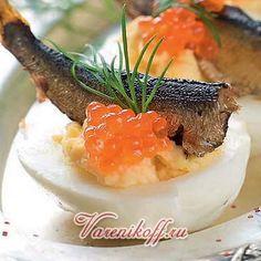 закуска из яиц со шпротами и икрой