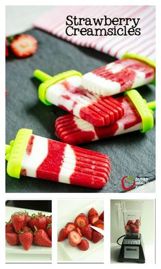 Strawberry Creamsicles - All fruit, no added sugar.  Perfect way to use up your strawberries that are on their way out!  http://www.superhealthykids.com/homemade-strawberry-creamsicles/