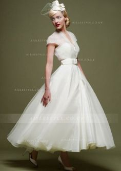 V Neck Cap Sleeved Tea Length Short Wedding Dress with Bow Ribbon _2