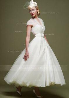 V Neck Cap Sleeved Tea Length Short Wedding Dress with Bow Ribbon _2