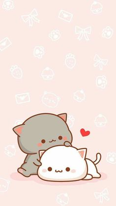▷ 1001 + nice pictures to paint and video instructions - Cute kawaii picture to trace, gray and white cat in hug, little red heart - Griffonnages Kawaii, Chat Kawaii, Arte Do Kawaii, Cute Cat Wallpaper, Bear Wallpaper, Kawaii Wallpaper, Cute Kawaii Drawings, Kawaii Doodles, Cute Anime Cat