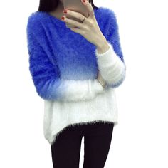 Women Elegant Gradient Color Knitted Mohair Sweaters