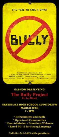 GABnow is presenting a screening of the movie #Bully on March 20th. Learn more about the movie in this trailer http://youtu.be/W1g9RV9OKhg