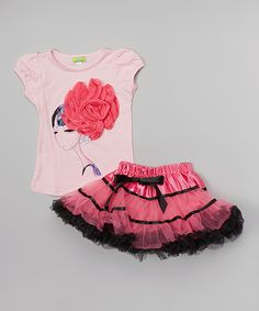 Look at this Pink Rosette Top & Fuchsia Pettiskirt - Toddler & Girls on #zulily today!