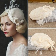 Bride Fascinator Pearl Feather Hair Accessory Wedding Prom Delicate Lace Top Hat