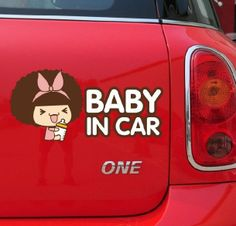 Wholesale 10pcs/lot Pink baby in car MOC girl stickers Cartoon Car Sticker for cars door full body car accessories decorate $15.80