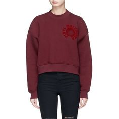 Alexander Wang Furwari artwork velvet flock cropped sweatshirt (1,595 SAR) ❤ liked on Polyvore featuring tops, hoodies, sweatshirts, red, red sweatshirt, velvet top, sweater pullover, textured top and alexander wang