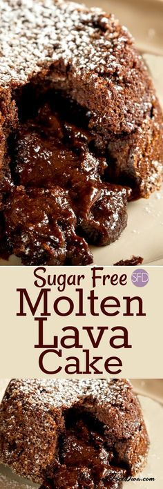 Molten Lava Cake and it is sugar free too! Yummy recipe for a great chocolate lave cake. Molten Lava Cake and it is sugar free too! Yummy recipe for a great chocolate lave cake. Sugar Free Deserts, Sugar Free Sweets, Sugar Free Recipes, Lava Cake Recipes, Dessert Recipes, Appetizer Recipes, Appetizers, Diabetic Recipes, Diabetic Foods