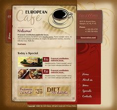 A collection of tasteful coffee shop web designs.