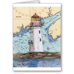 images nautical cards   Machais Seal Island Lighthouse ME Nautical Chart Greeting Card