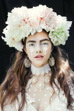 """Etno series by the make-up artist Beata Bojda from Poland. Photography: Ula Kóska. """"In the folk culture - Polish wreath and bunches of flowers were a part of both religious and secular ceremonies such as marriage, funeral, festivals or Easter. In late 19th and early 20th century when industry developed decorative papers and cigarette - new branch of handicraft called 'handicraft paper' developed. 'Handcraft paper' has been used in the manufacture of ornaments, especially during the…"""