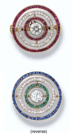 Queen Mary's Belle Epoque Diamond & Gem Target Brooch. George, Prince of Wales (George V) gifted to Victoria Mary, Princess of Wales (Queen Mary, Queen Consort) on Easter 1908. Crafted as series of concentric reversible circles around central circular-cut diamond set w/ calibré-cut rubies, sapphires or emeralds & single-cut diamonds mounted platinum & gold. Pin detachable making brooch reversible. Given to Princess Margaret upon death Queen Mary. Sold @ auction in 2006 for £21,600 ($39,744…