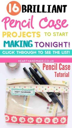 Are you searching for some DIY Pencil case tutorials for back to school season? This list is full of beautiful patchwork pouches, flat pencil cases, binder pencil cases & even a crochet pencil case! There are some great Pencil case projects in this post. Pencil Case Tutorial, Diy Pencil Case, Leather Pencil Case, Pouch Tutorial, Pencil Pouch, Pencil Cases, Diy Tutorial, Diy Sewing Projects, Sewing Hacks