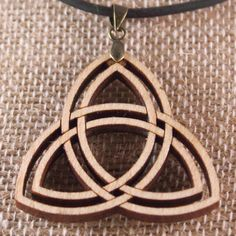 Handcrafted Laser Cut Celtic Triquetra Pendant Made of Maple