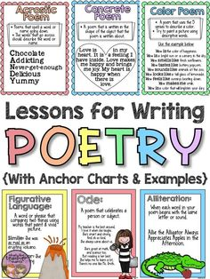 Teaching poetry in the upper grades can seem like a difficult task, but this poetry unit will walk your students through 11 forms of poetry and and 8 elements of poetry. The end product is a complete book of original poems! There posters and anchor charts Forms Of Poetry, Poetry Unit, Writing Poetry, Poetry Books, Poetry Prompts, Deep Poetry, Writing Genres, Paragraph Writing, Writing Process