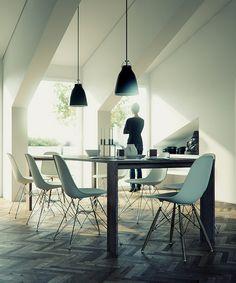 herringbone + eames + pendants in dining space by Joao Tiago Aguiar