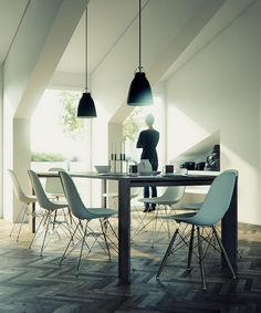 herringbone + eames + pendants in dining space by Joao Tiago Aguiar