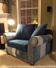 A sentimental project, chair was upholstered with denim jeans worn over the years by three sons and their dad. This wonderful time capsule will be passed down to the sons one day, a very special family piece.