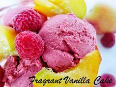 Fragrant Vanilla Cake: Raw Raspberry Peach Frozen Yogurt