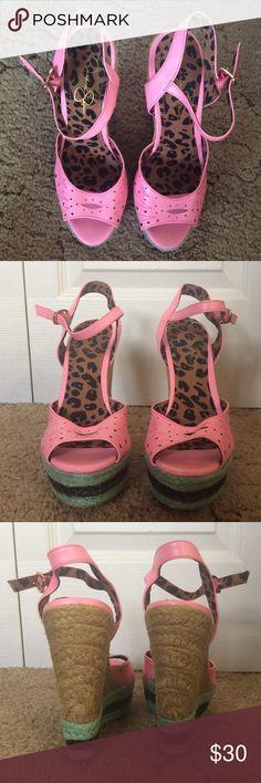 Jessica Simpson wedges 🍉 Jessica Simpson watermelon inspired wedges Jessica Simpson Shoes Wedges