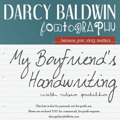 New Font Freebie from Darcy Baldwin {fonts} - My Boyfriend's Handwriting with Studio Basics. Includes common language characters for most major Western European Languages #freefont #cufont