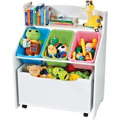 Tot Tutors 3-Tier Storage Unit with Rollout Toy Box, White