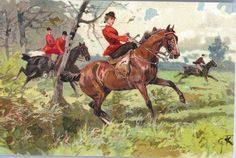 SIDESADDLE TECHNIQUE SHOWN, 'THE FOX HUNT', UDB, ARTIST RENDERING: G.K.