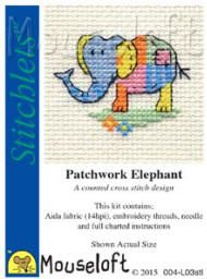 This kit would be so lovely for kids to stitch. Lets get our kids into crafting :-) Mouseloft Stitchlets Cross Stitch Kits Patchwork Elephant