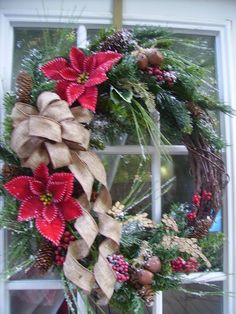 Old Fashion Christmas Wreath Reindeer Bells Pines by ThePetalShop, $69.99