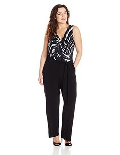 d25a9d1546a7 Fashion Bug Womens  Petite Plus Size Sleeveless Printed Top Surplice  Jumpsuit www.fashionbug.