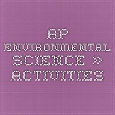AP Environmental Science » Activities