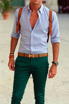 I love the color combination of green trousers, blue and white plaid shirt, and saddle brown leather.