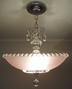 Vintage Art Deco Pink Square Starburst Glass Ceiling Light Fixture Chandelier