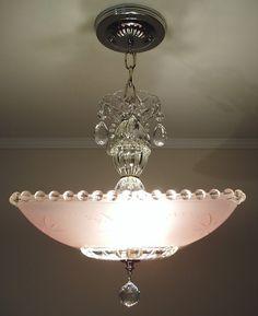 Vintage Art Deco Pink Square Starburst Glass Ceiling Light Fixture Chandelier