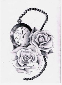 roses & pocketwatch...now add a bird and a few more flowers and I would love it