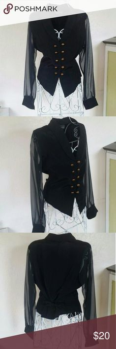 GORGEOUS TUX BLOUSE Sheer sleeves.  Elengant Brass looking buttons. Shoulder pads. Ties at back as well! So cute and classy! anxiety Tops Button Down Shirts