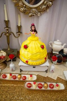 Belle cake at a Beauty and the Beast birthday party! See more party ideas at CatchMyParty.com!