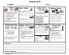 Home to School Communication-   A one page communication between teacher and parent of children with autism and/or children with communication issues. This allows the parent to know what happened at school. It also can help the parents have information for conversation starters with their children.