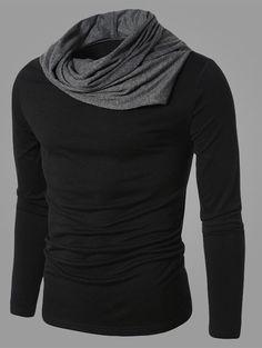 Color Splicing Cowl Neck Long Sleeve T-Shirt #jewelry, #women, #men, #hats, #watches, #belts