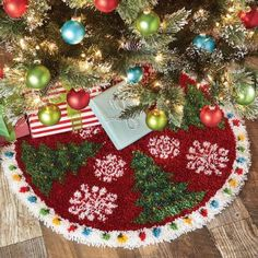 Herrschners® Holiday Trees in the Snow Latch Hook Kit Holiday Tree, Holiday Decor, Christmas Tree, Latch Hook Rug Kits, Hanging Banner, Vinyl Storage, Snowflake Designs, Rug Hooking, Light Colors