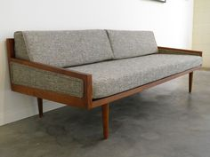 MID Century MODERN DAYBED Style Sofa with Arms. $985.00, via Etsy.