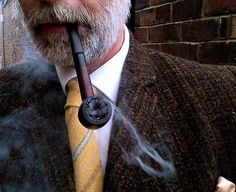 Cold foggy day means Pipe and Harris Tweed the man i want to be when i'm older