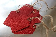 Set of 6 Red Glitter Gift Tags Glitter Gifts, Red Glitter, Love Your Home, Gift Tags, I Shop, Gift Wrapping, Valentines, Etsy Shop, Trending Outfits