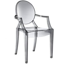 Modern Contemporary Design Kitchen Dining Arm Rest Chair Crystal Clear Transparent