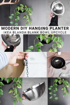 Learn how to make a hanging planter using a stainless steel bowl. This sleek planter is a cheap and beautiful DY solution you can customize to your liking! #ikeahack Clay Crafts For Kids, Kids Clay, Fun Diy Crafts, Diy Hanging Planter, Stainless Steel Bowl, Painted Mugs, Modern Crafts, Diy Coasters, Dollar Tree Crafts